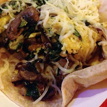 Source: Foodspotting, Breakfast tacos with spinach, onions, mushrooms and cheese