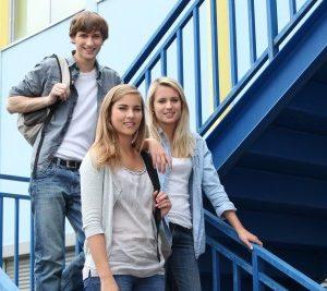 teens going to school